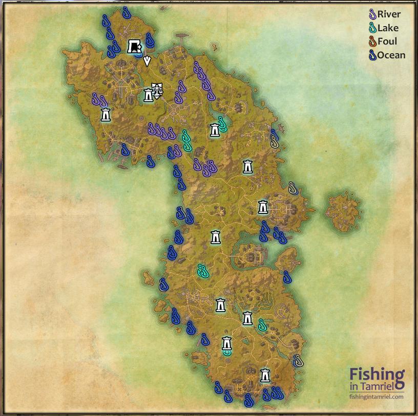 Aldmeri dominion fishing maps fishing in tamriel for Fishing guide eso