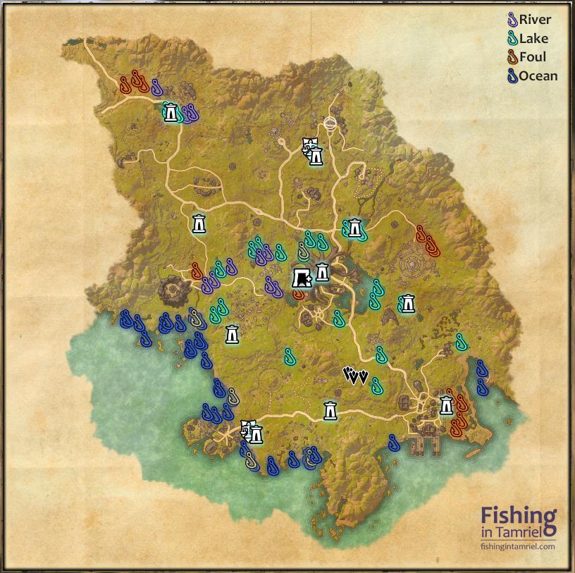 aldmeri dominion fishing maps fishing in tamriel
